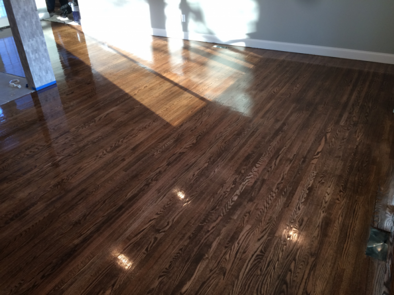 Sanded And Stained Red Oak Hardwood Floors Before Polyurethane Semi Gloss;  Mix Of Minwax Dark